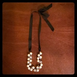 J. Crew Black Fabric & Beaded Necklace